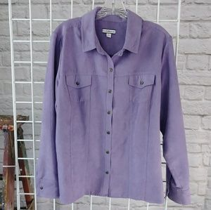 croft & barrow Tops - Lavender Long Sleeve Suede Button Down Top